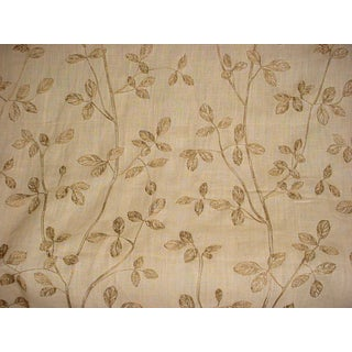 Kravet Couture Embroidered Linen Leaf Harvest Upholstery Fabric- 15-5/8 Yards For Sale