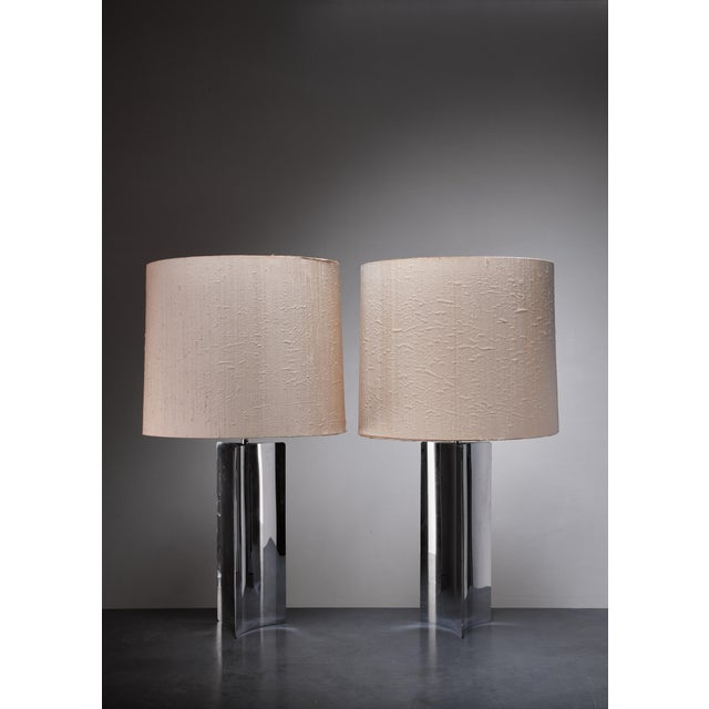 Pair XL 1960s table/console lamps with folded chrome base and fabric hood For Sale - Image 4 of 4