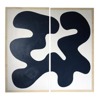 Navy and White Abstract Diptych on Wood For Sale