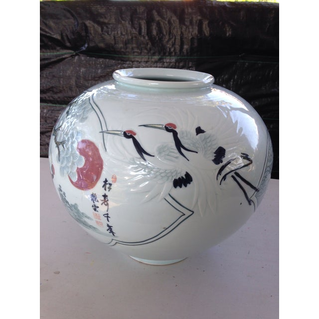 Ceramic Asian Hand Painted Vase For Sale - Image 7 of 7