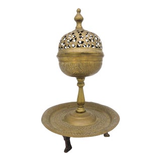 1800s Turkish Brass Pierced and Engraved Design Ottoman Incense Burner For Sale