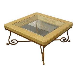 Vintage Henredon Furniture Enchantment Collection Aspen Oak Square Coffee Table For Sale