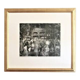 """Early 20th Century Antique """"The Tournament (Tennis at Newport)"""" Lithograph Print For Sale"""