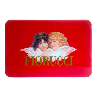 Vintage 1980's Rare Fiorucci New Wave Italian Fashion Iconic Cherub Angels Post Modern Red Tin Metal Box For Sale