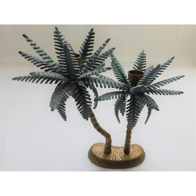Vintage Verdigris Brass Tropical Palm Tree Dual Taper Candle Holder For Sale - Image 4 of 4