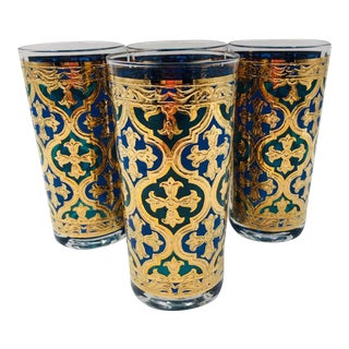 1960s Georges Briard Firenza Blue and 22k Gold Italian Renaissance Cross Highball Glasses - Set of 5 For Sale