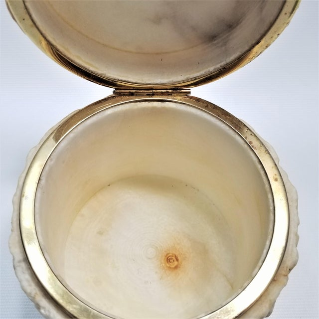 Rare Heavy Vintage Italian Alabaster Marble Jewelry Box - Italy Mid Century Modern Palm Beach Boho Chic For Sale - Image 10 of 13