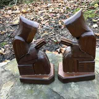 Vintage Mid Century Carved Wooden Monk Studded Rosary Bookends - a Pair Preview