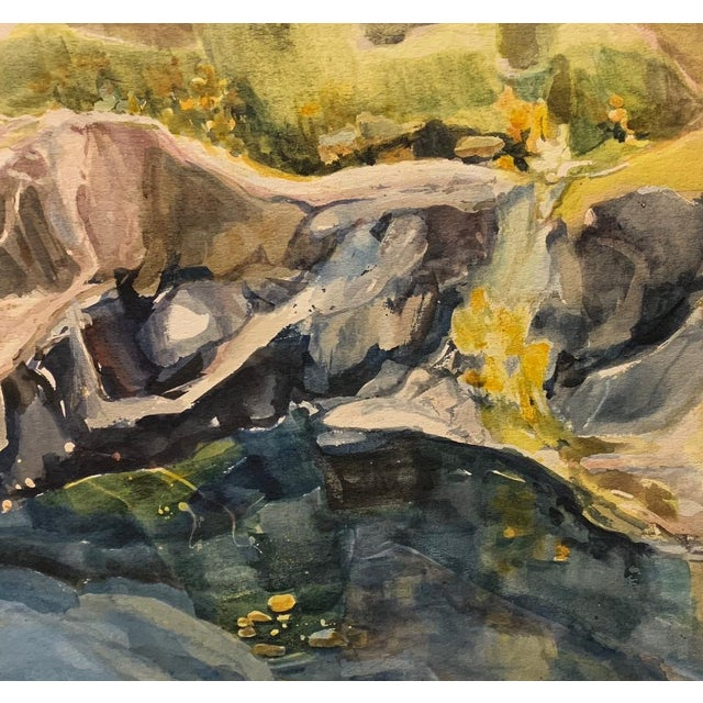 """Abstract Mid Century California Gold Country Landscape Watercolor Painting """"River Bank"""" For Sale - Image 3 of 4"""