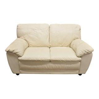 Late 20th Century Beige Leather Italian Modern Loveseat Settee Sofa For Sale