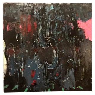 Contemporary Basquiat Style Large Original Graffiti Art Painting For Sale