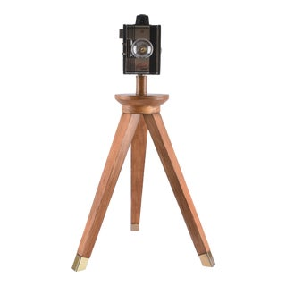 Vintage Mid-Century Tripod Camera Lamp For Sale