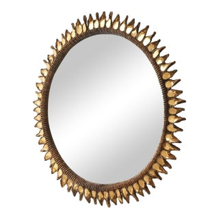 """Large """"Golden Thistle"""" Mirror by Line Vautrin, 1955-1965 For Sale"""