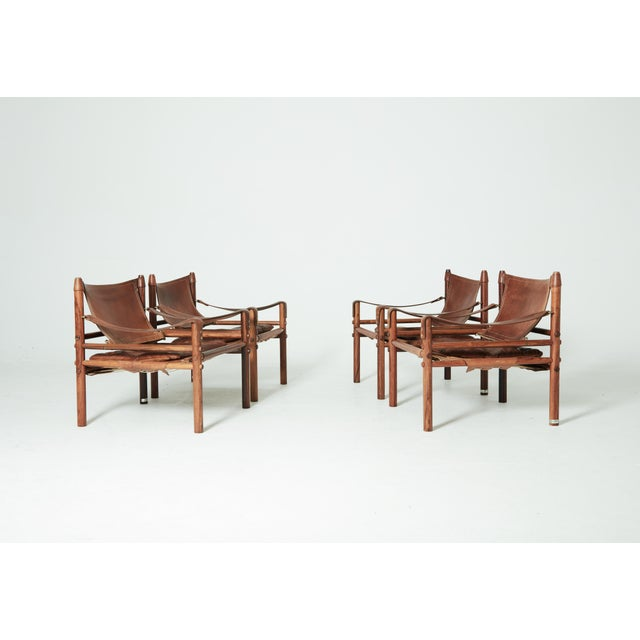 Rare Set of Four Arne Norell Safari Sirocco Chairs, Sweden, 1960s For Sale - Image 11 of 13