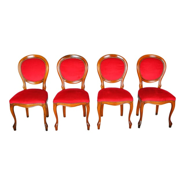 Vintage Set of 4 French Louis XV Maple Dining Chairs W/ Red Velvet Upholstery For Sale