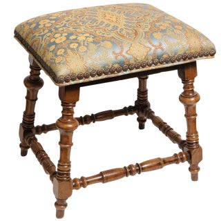 19th Century English, Jacobean Style Stool with Gold and Blue Damask Fabric For Sale