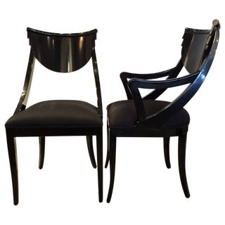 Modernist Mid Century Modern Black Lacquered Pair of Side / Dining /Accent Chairs by Ello