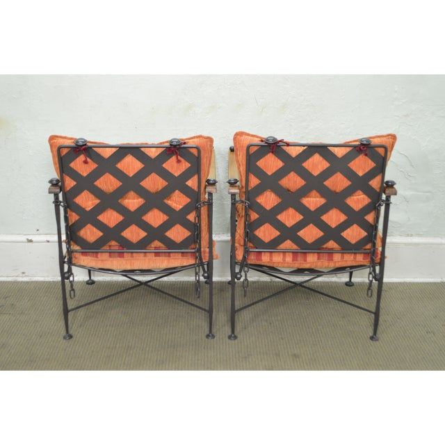 Hand Forged Steel Frame & Wood Frame Reclining Arm Chairs For Sale - Image 4 of 10