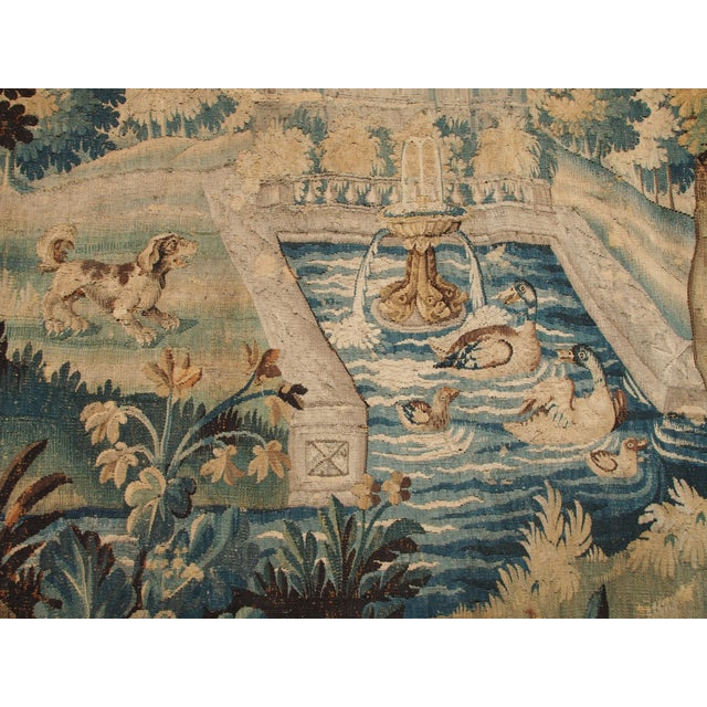 Baroque Verdure Tapestry with a Chateau and Fountain For Sale - Image 3 of 10