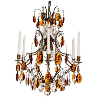6 Arm Ebony Almond Amber Baroque Chandelier For Sale