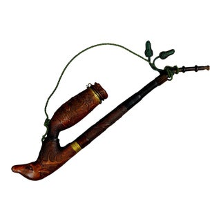 Antique Excellent Carved Wood Tobacco Pipe For Sale