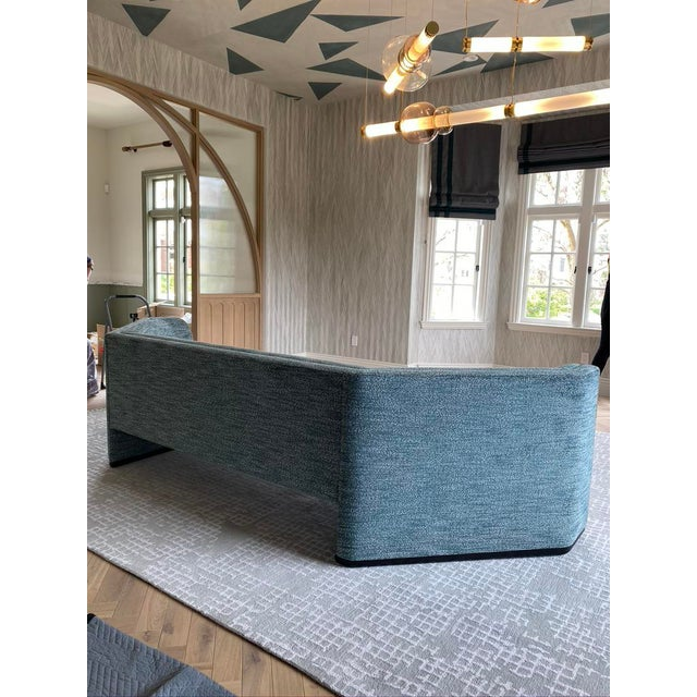 2020s Featured in The 2020 San Francisco Decorator Showcase — Custom Shaped Teal Settee For Sale - Image 5 of 12