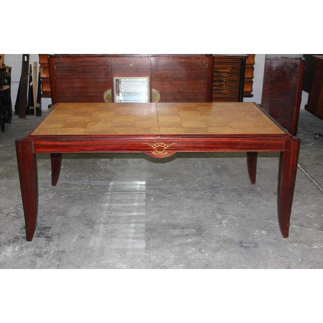 Brown 1940s French Art Deco Sycamore / Mahogany Dining Table For Sale - Image 8 of 9