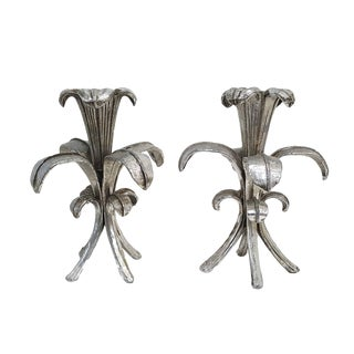 Pair Hollywood Regency Italian Silver Gilt Candle Holders For Sale