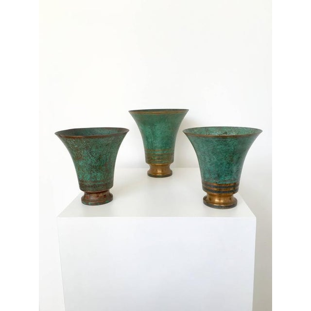Traditional Carl Sorensen Signed Bronze Verdigris Vases For Sale - Image 3 of 10