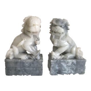 Carved Stone Foo Shishi Dog Figurines - A Pair