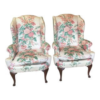 1980s Vintage Henredon Wingback Chairs - A Pair For Sale