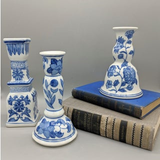 Vintage Blue and White Chinoiserie Candlesticks - Set of 3 Preview