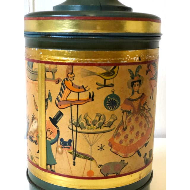 Art Deco Child's Lamp of Tole With a Toy Themed Paper Applique For Sale - Image 11 of 12