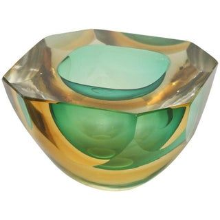 Italian Murano Sommerso Flat Cut Polished Sculptural Geode Bowl