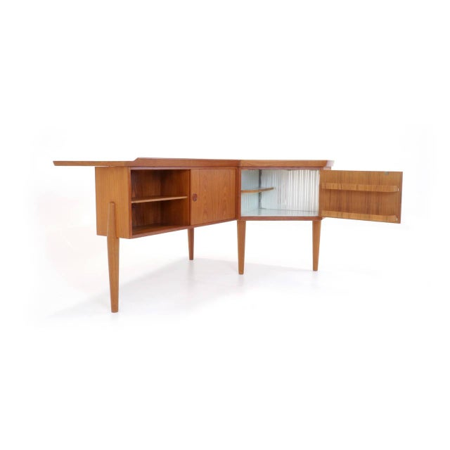 1950s 1950s Danish Modern Arne Vodder Teak Desk With Built in Bar For Sale - Image 5 of 10