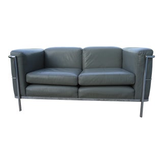 Jack Cartwright for Le Corbusier 1928 Lc2 Style Gray Leather Loveseat Settee For Sale