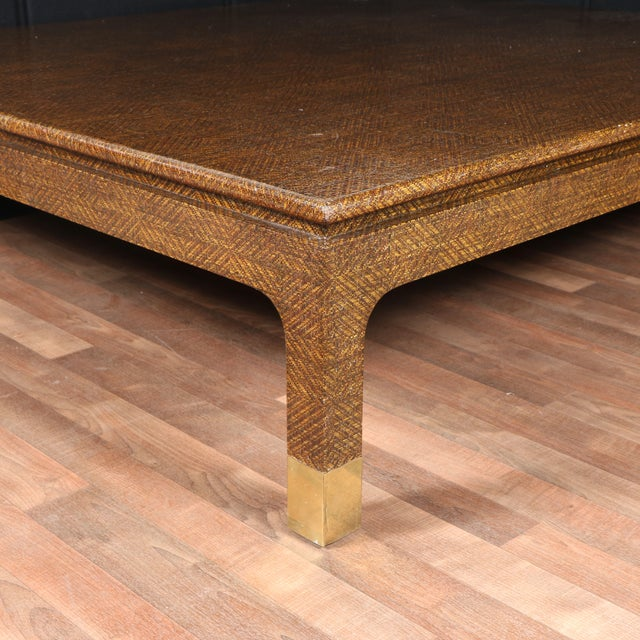 Brown Raffia Covered Coffee Table by Harrison Van Horn For Sale - Image 8 of 11