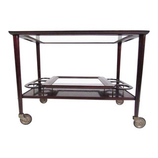 Italian Modern Mahogany Bar Cart With Service Tray For Sale