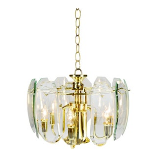 Mid Century 6 Light Brass & Etched Glass Prism Chandelier For Sale