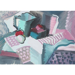 Abstracted Textured Still Life Gouache Painting, Circa 1943 For Sale