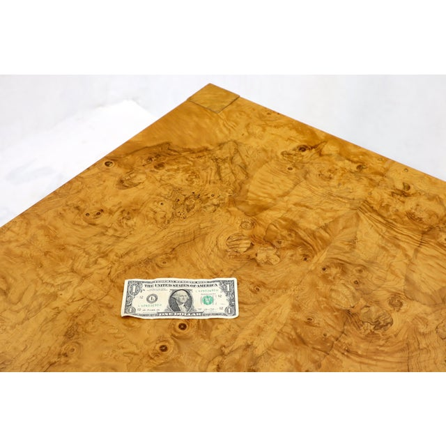 Brown Rectangle Shape Burl Wood Dining Room Table with Two Extension Leaves Boards For Sale - Image 8 of 12