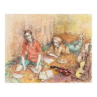 'Jeudi à La Maison' by Lucien Philippe Moretti, French Post-Impressionist, Ecole Des Beaux-Arts For Sale