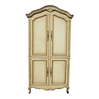 Vintage Drexel French Provincial Off-White & Gold Armoire