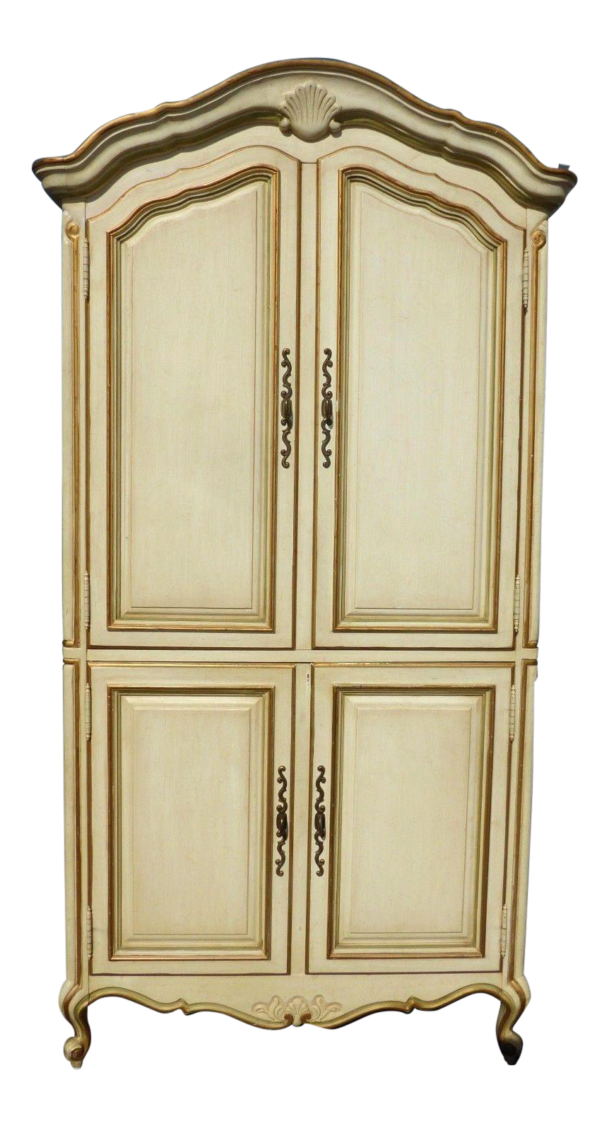 Vintage Drexel French Provincial Off White U0026 Gold Armoire