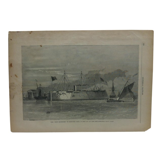 """Late 19th Century Antique """"The New Ironsides in Fighting Trim - as She Lay at the Philadelphia Navy Yard"""" Pictorial Battles of the Civil War Print For Sale"""