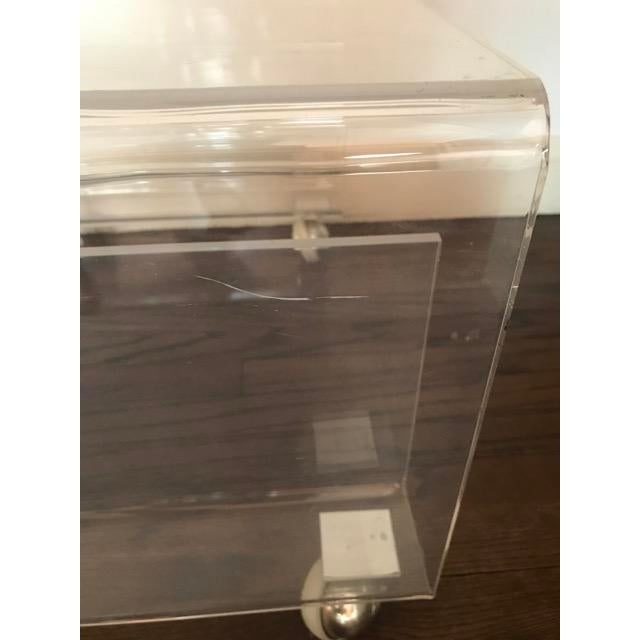 Lucite Side / Coffee Table With Magazine Rack on Wheels For Sale - Image 4 of 9