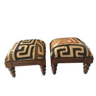 Boho Kuba Cloth & Wood Footstools - A Pair For Sale