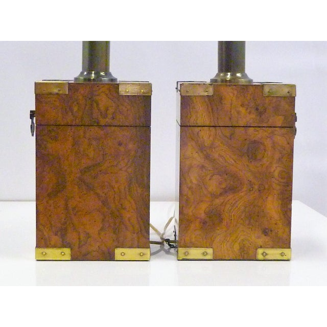 1970s Campaign Style Burl Wood Faux Tea Box Table Lamps - a Pair For Sale - Image 11 of 13