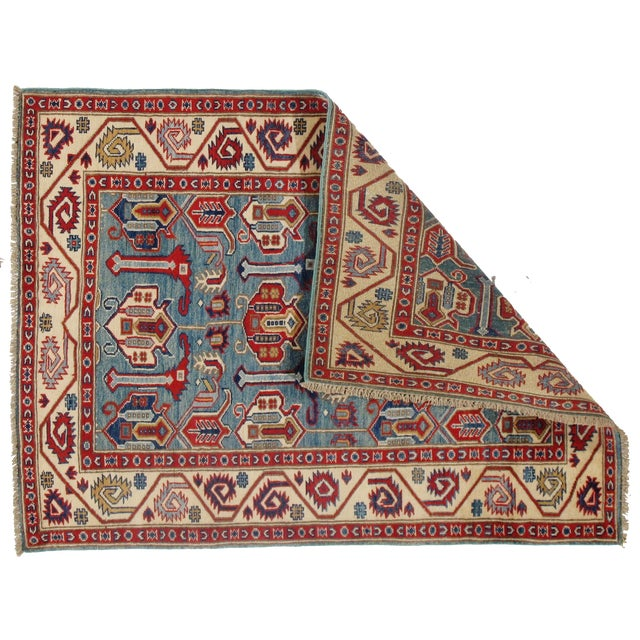 Contemporary Contemporary Pak Kazak Lamb's Wool Rug - 3′6″ × 5′ For Sale - Image 3 of 5
