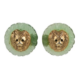 Kalinger Paris Signed Lion Head Aqua Green Resin and Gilt Metal Clip on Earrings For Sale